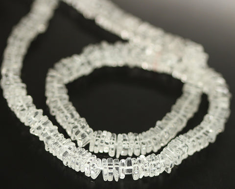 Clear White Quartz Smooth Heishi Cube Beads Strand - 6mm - 16 Inches - Jewels Exports