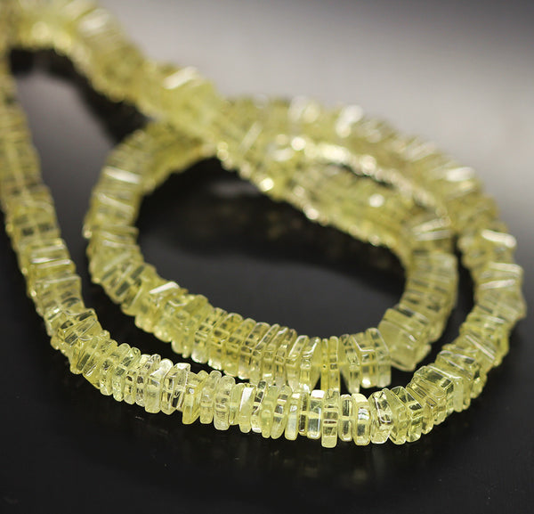 Yellow Lemon Quartz Smooth Heishi Cube Beads Strand - 5mm - 16 Inches - Jewels Exports