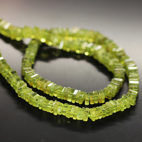 Green Peridot Smooth Heishi Cube Beads Strand - 4mm - 16 Inches - Jewels Exports