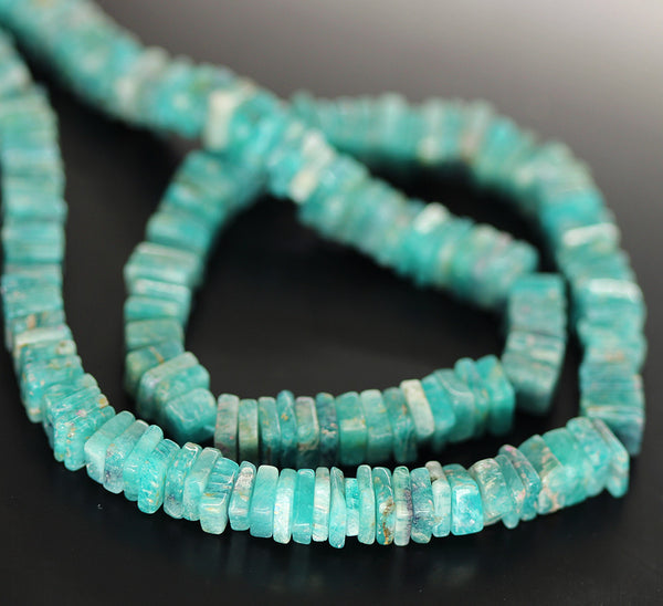 Green Amazonite Smooth Heishi Cube Beads Strand - 5mm 5.5mm - 16 Inches - Jewels Exports