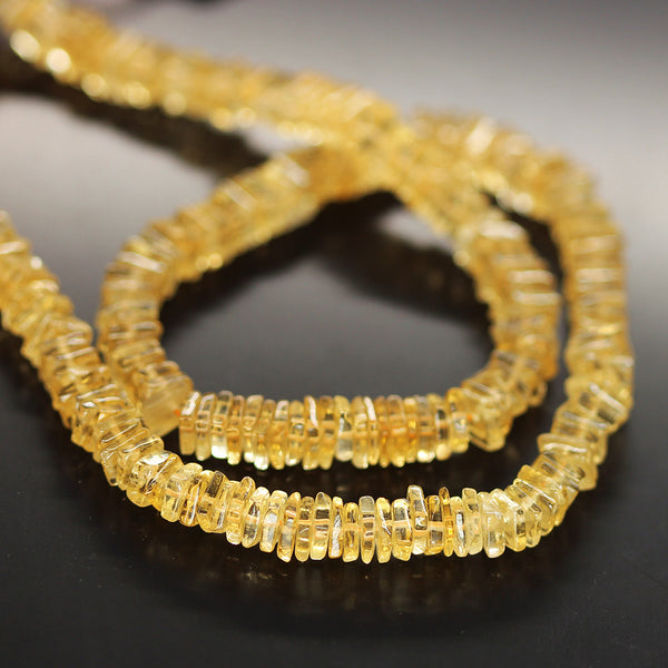 Gold Citrine Smooth Heishi Cube Beads Strand - 5mm - 16 Inches - Jewels Exports