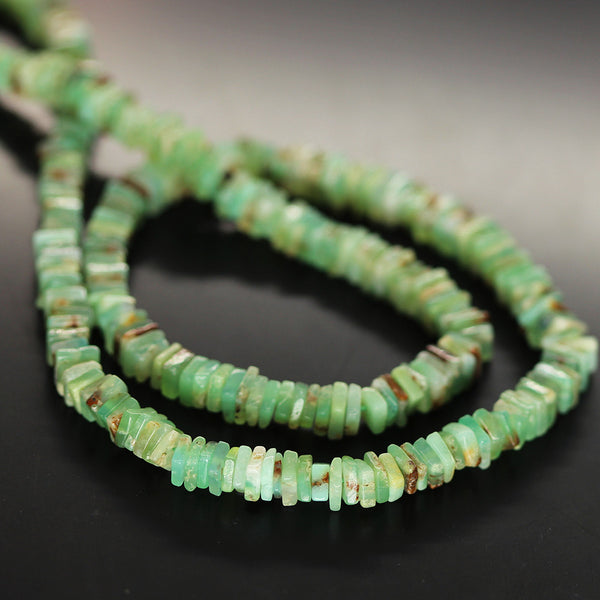 Green Chrysoprase Smooth Heishi Cube Beads Strand - 4.5mm 5mm - 16 Inches - Jewels Exports