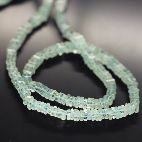 Blue Aquamarine Smooth Heishi Cube Beads Strand - 4mm 4.5mm - 16 Inches - Jewels Exports