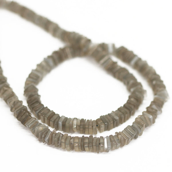 Grey Moonstone Smooth Heishi Cube Beads Strand - 4 - 16 Inches - Jewels Exports