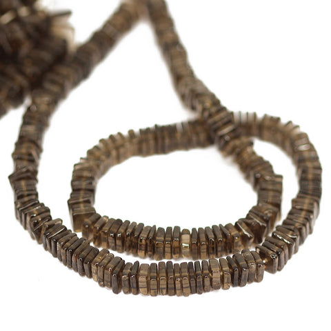 Brown Smoky Quartz Smooth Heishi Cube Beads Strand - 6 - 16 Inches - Jewels Exports