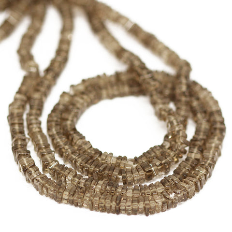 Brown Smoky Quartz Smooth Heishi Cube Beads Strand - 4 - 16 Inches - Jewels Exports