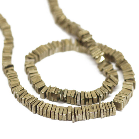 Natual Pyrite Smooth Heishi Cube Beads Strand - 5 - 16 Inches - Jewels Exports