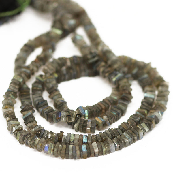 Blue Labradorite Smooth Heishi Cube Beads Strand - 3.5 - 16 Inches - Jewels Exports