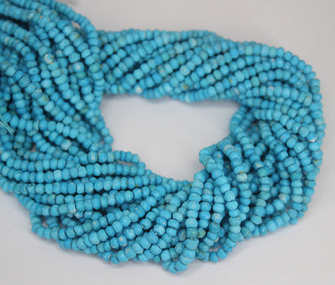 Blue Turquoise Faceted Rondelle Beads Strand - 3mm - 13 Inches - Jewels Exports