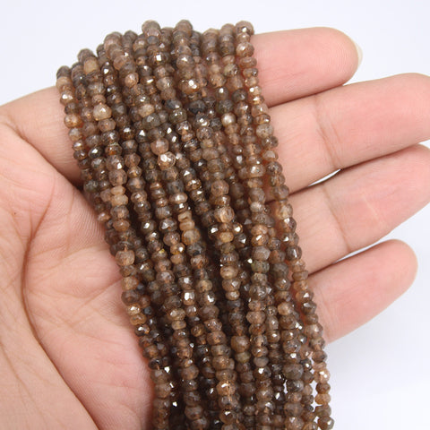 Brown Andalusite Faceted Rondelle Beads Strand - 3.5mm 4mm - 13 Inches - Jewels Exports