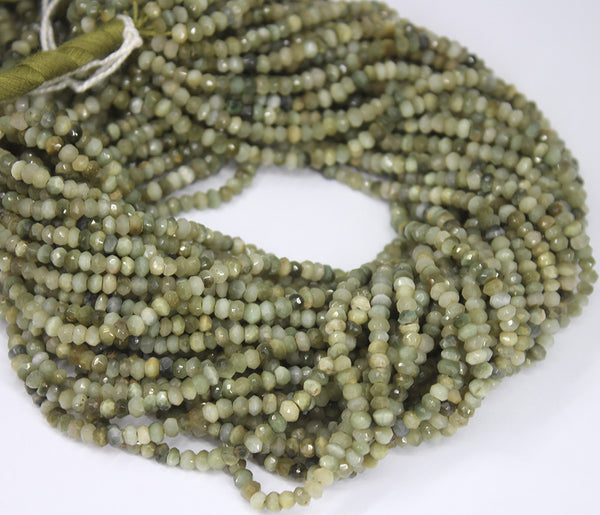 Bi Color Cats Eye Faceted Rondelle Beads Strand - 3.5mm - 13 Inches - Jewels Exports
