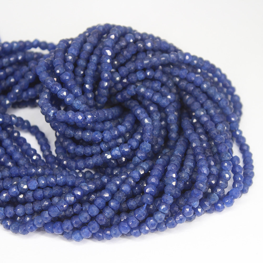 Blue Jade Faceted Rondelle Beads Strand - 3.5mm - 13 Inches - Jewels Exports