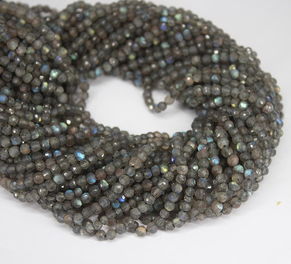 Blue Labradorite Faceted Round Beads Strand - 3.5mm - 13 Inches - Jewels Exports