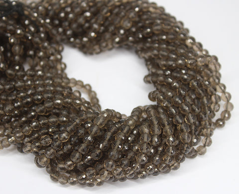 Brown Smoky Quartz Faceted Round Beads Strand - 4mm - 13 Inches - Jewels Exports