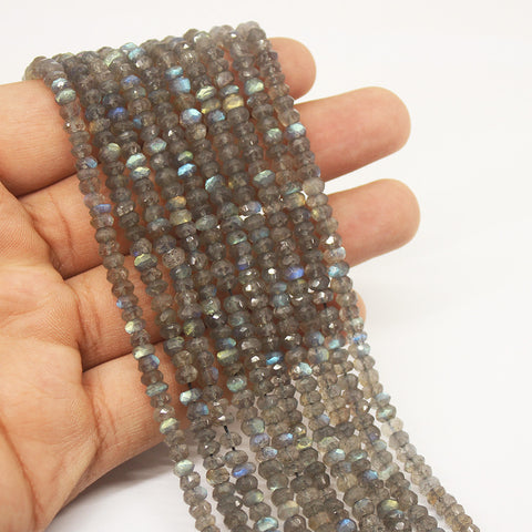 Blue Labradorite Faceted Rondelle Beads Strand - 4mm - 13 Inches - Jewels Exports
