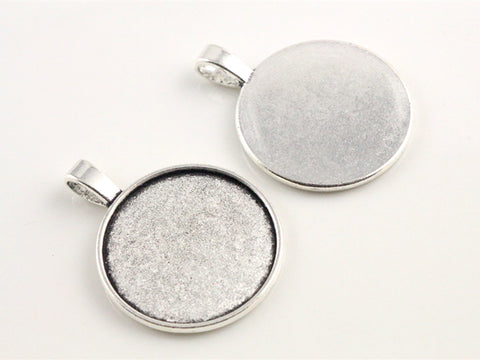 10 pc Pendant Bezel Setting Blank For 25mm Cabochon - Jewelry Making - Jewels Exports