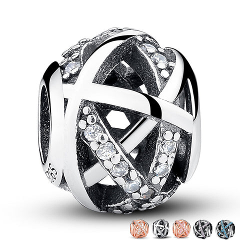 Openwork Galaxy Crystal Heart European Spacer Zircon Pave Beads Charms - 925 Sterling Silver - Jewelry Making - Jewels Exports