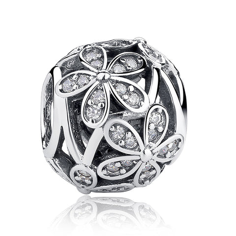 1 pc Round European Spacer Zircon Pave Beads Pandora Charms - 925 Sterling Silver - Jewelry Making - Jewels Exports