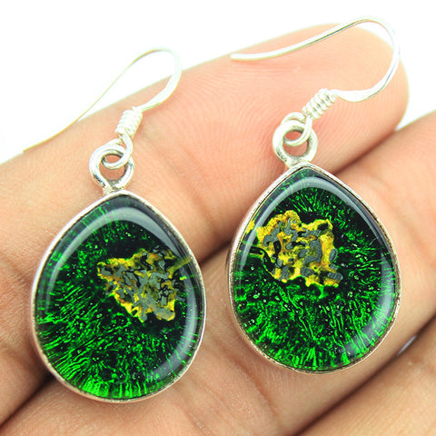 Dichroic Glass Sterling Silver Earrings 1567ER - Jewels Exports