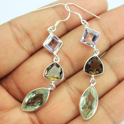 Smoky Smoky Green Amethyst Sterling Silver Earrings SKU1580S - Jewels Exports