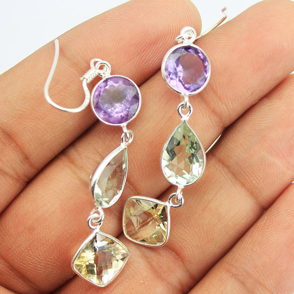 Ametyst Citrine Green Sterling Silver Earrings SKU1582S - Jewels Exports
