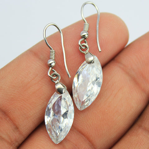 White Zircon Sterling Silver Earrings 1585ER - Jewels Exports