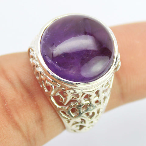 Amethyst Sterling Silver Cocktail Ring 1601RG - Jewels Exports