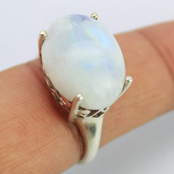 Rainbow Moonstone Sterling Silver Ring 1604RG - Jewels Exports