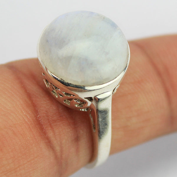Rainbow Moonstone Sterling Silver Ring 1605RG - Jewels Exports