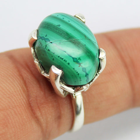 Malachite Sterling Silver Ring 1609RG - Jewels Exports