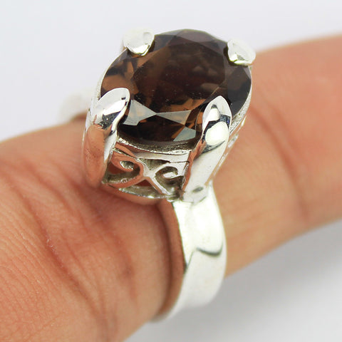 Smoky Quartz Sterling Silver Ring 1614RG - Jewels Exports