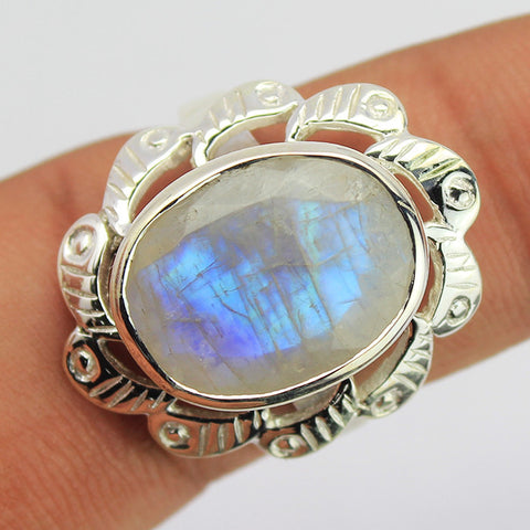 Blue Rainbow Moonstone Sterling Silver Ring 1618RG - Jewels Exports