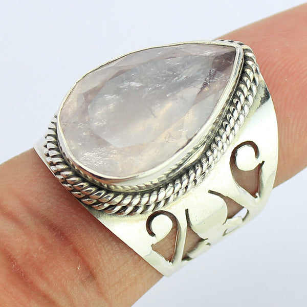 Rose Quartz Sterling Silver Ring 1668RG - Jewels Exports