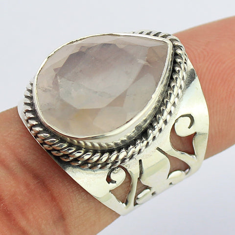 Rose Quartz Sterling Silver Ring 1669RG - Jewels Exports