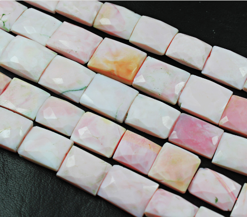 Pink Opal Checker Faceted Chewing Gum Shape Beads Strand,14 Inches - 15-20mm, SKU1886/M - Jewels Exports