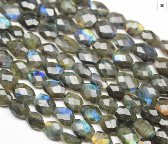 Blue Fire Labradorite Faceted Oval Nuggets Beads Strand, 9-10mm, 12 inches, SKU/F - Jewels Exports - 1