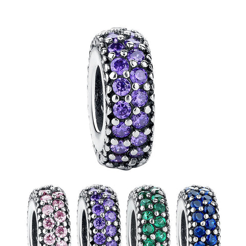 1 pc Zircon European Spacer Pave Rondelle Beads Pandora Charms - 925 Sterling Silver - Jewelry Making - Jewels Exports