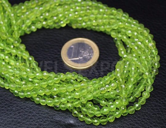 Bead, Peridot (Natural), 4mm Faceted Roundel, A- Grade, Mohs Hardness 6, Sold Per 13-Inch Strand - Jewels Exports