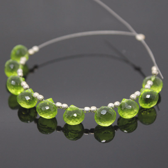 Peridot Green Quartz Faceted Onion Drop Briolette Beads, 10 beads, 7mm, SKU9237A - Jewels Exports