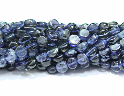 5 Strands - 14 Inches  - 5mm - Natural Blue Iolite Smooth Round Coin Beads Strand - Jewels Exports