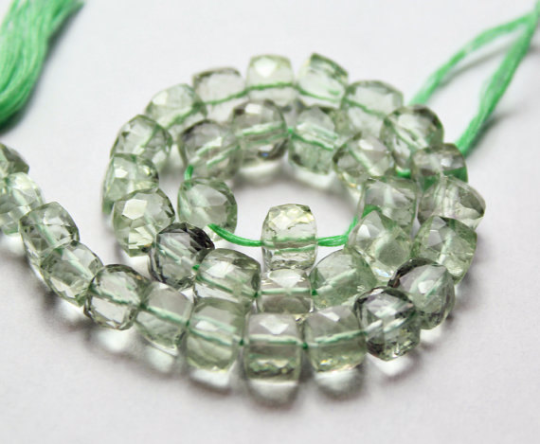 Beads, Green amethyst (natural), 7-7.5mm hand cut box, A grade, Mohs hardness 7. Sold per 4 inch strand SKU1123 - Jewels Exports