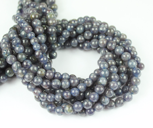 5 x 13.5 Inches - 6-7mm - Natural Iolite Smooth Polished Round Beads Strand - SF6065 - Jewels Exports - 1