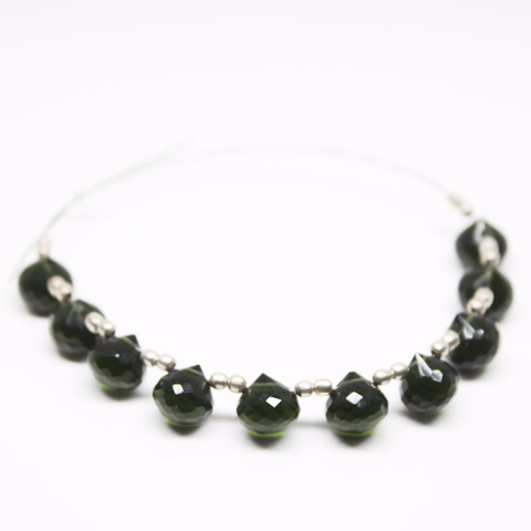 Dark Chrome Green Quartz Faceted Onion Drop Briolette Beads, 10 beads, 7mm, SKU9236A - Jewels Exports