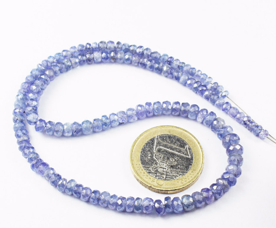 14 Inches - 3-5mm - Natural Blue Tanzanite Faceted Roundel Beads Strand JE 6969 - Jewels Exports - 1