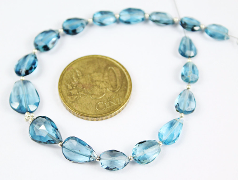 Bead, London Blue Topaz (natural), 8-12.5mm center drilled faceted pear drop, A grade, Mohs hardness 7, Sold per 7-inch strand SKU1791 - Jewels Exports - 1