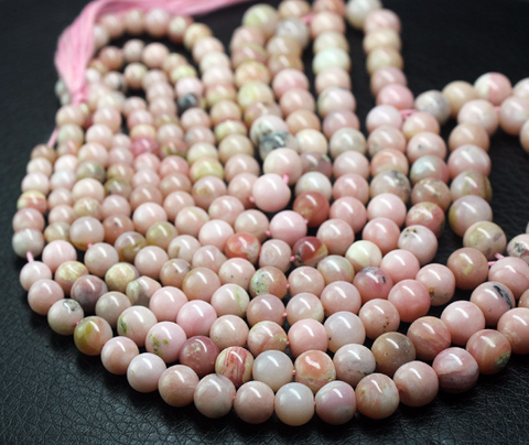 Untreated Pink Opal Smooth Round Ball Beads Strand, 14 Inches, 7-9mm, SKU2728/M - Jewels Exports