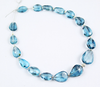 Bead, London Blue Topaz (natural), 8-12.5mm center drilled faceted pear drop, A grade, Mohs hardness 7, Sold per 7-inch strand SKU1791 - Jewels Exports - 2