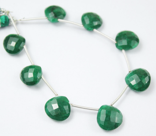 5 Inches - 11-12mm - Natural Green Emerald Faceted Heart Drop Beads Strand JE4294 - Jewels Exports - 1