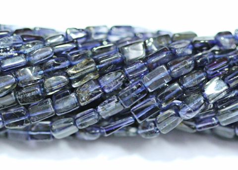 Bead, Iolite (dyed), 4-5mm hand-polish smooth rectangle box, A grade, Mohs hardness 7-7.5, Sold per 7-inch strand SKU1315 - Jewels Exports - 1
