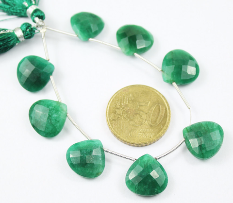 Natural Green Emerald Faceted Heart Drop 5.5 Inches - 14-15mm - Beads Strand JE4511 - Jewels Exports - 1